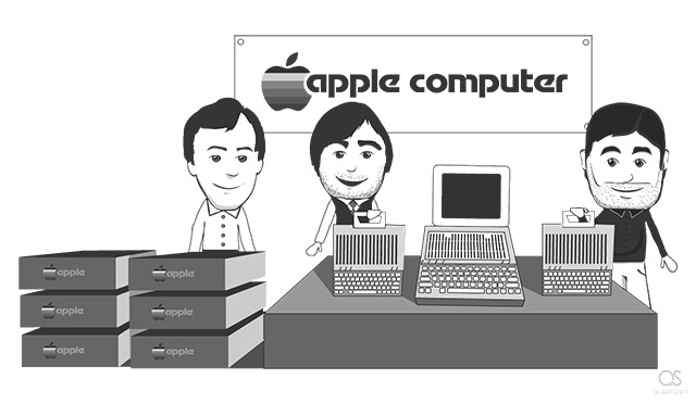 Steve Jobs, Steve Wozniak, Make Markkula present Apple 2 computer