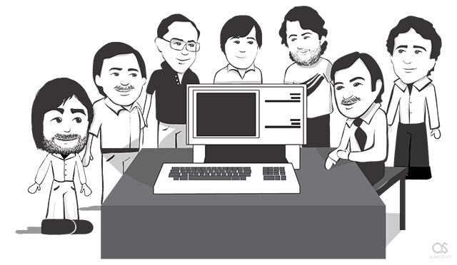 Apple Lisa team Steve Jobs, Paul Baker, Bruce Daniels, Chris Franklin, Rich Page, John Couch, Larry Tessler