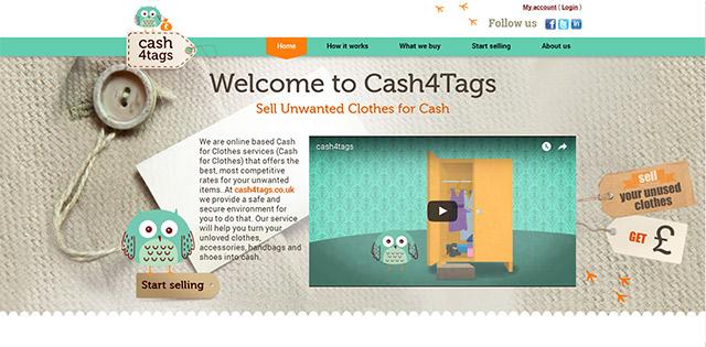 Website designed for the web-based cash for clothes startup