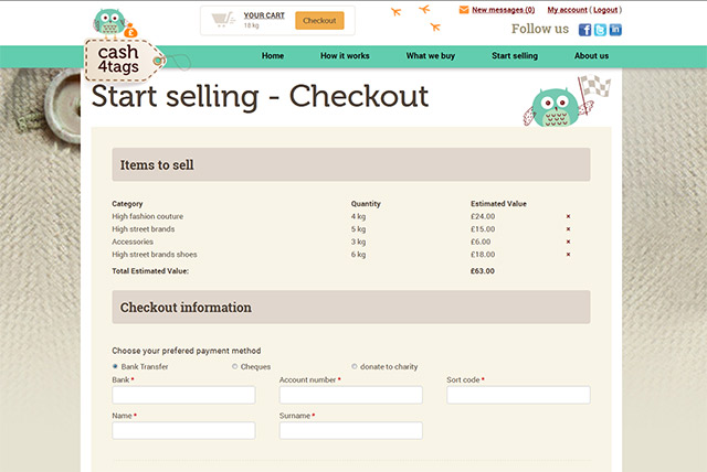 Clothes selling checkout page