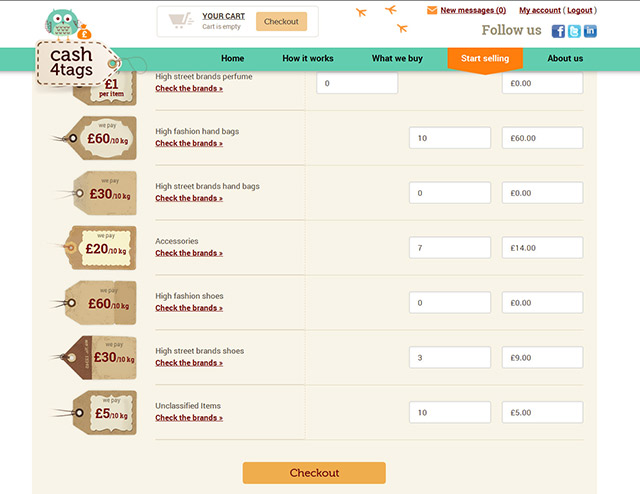 Clothes selling and buyng website, detailed classification selling form