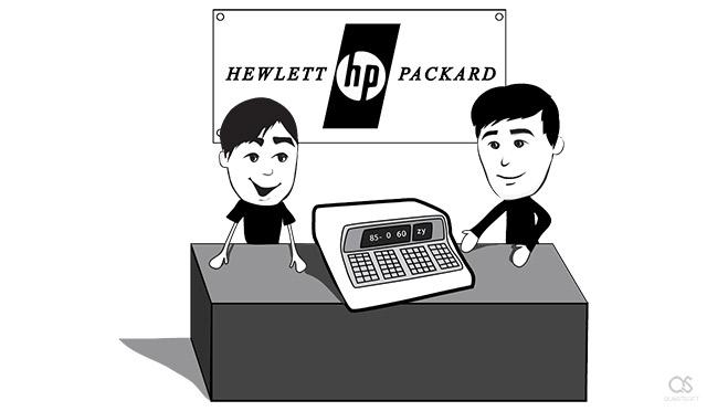 Steve Jobs and HP 9100A desktop computer