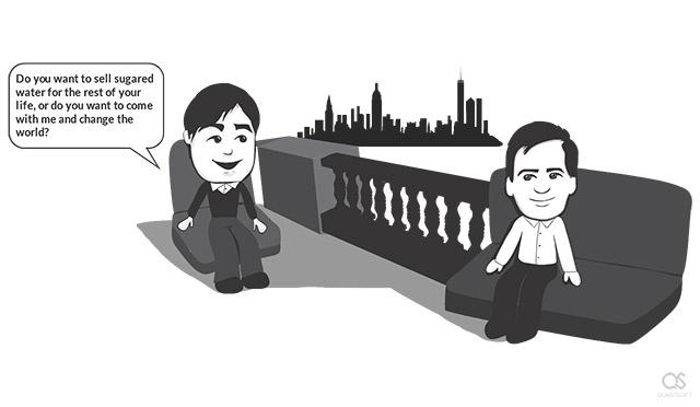 John Sculley and Steve Jobs