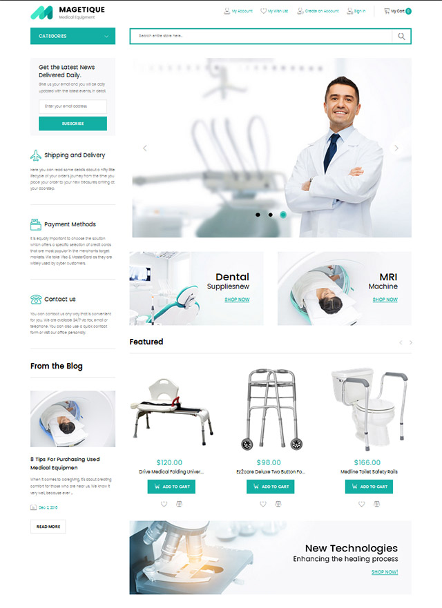 Medical Magento template, health care theme