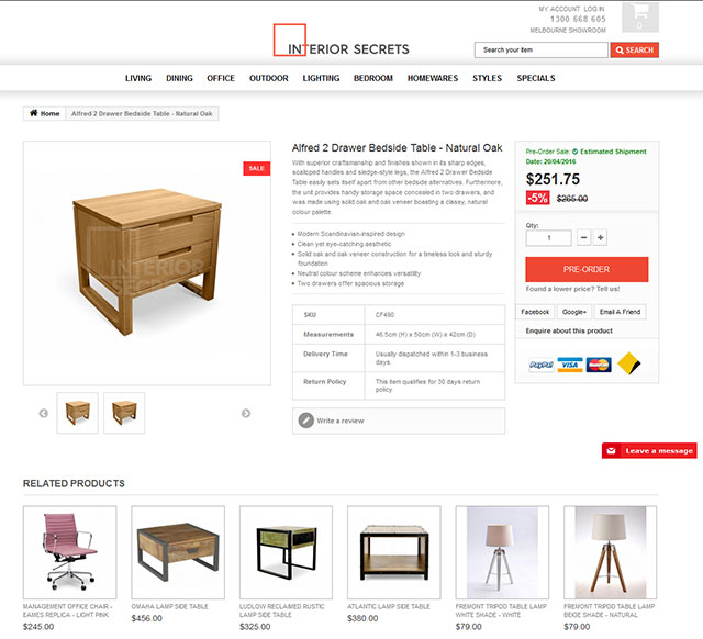 Mobile friendly ecommerce site for furniture retailer for Soft furnishings online