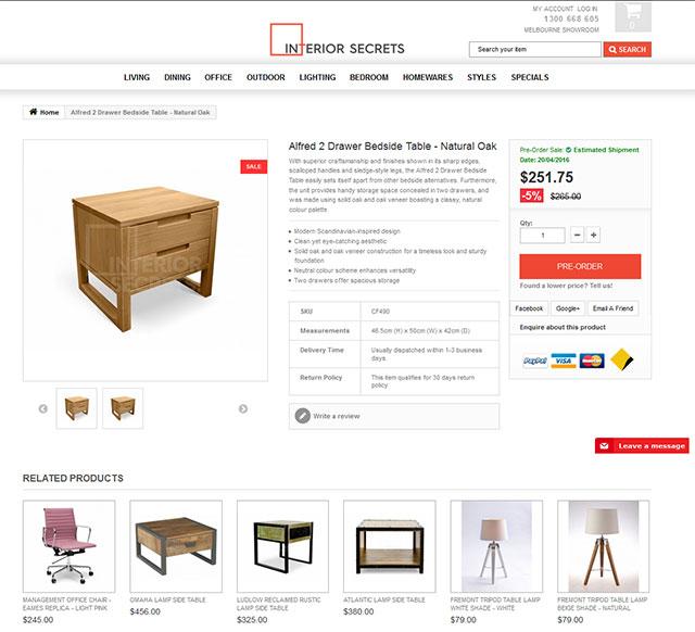 eCommerce website design for a furniture vendor