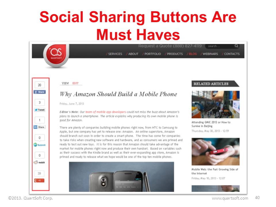 social share buttons on blog