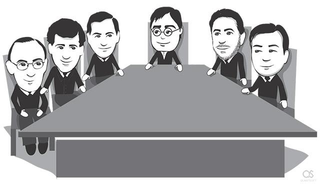 Steve Jobs becomes Apple CEO with board members Jerry York, Bill Campbell, Ed Woolard, Larry Ellison, Gareth Chang