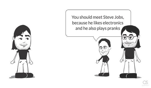 Steve Jobs meets Steve Wozniak for the first time