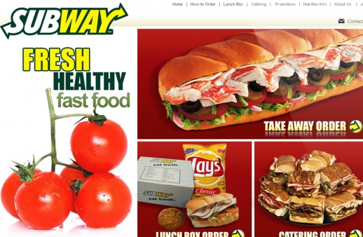 Subway: website for a fast food franchise