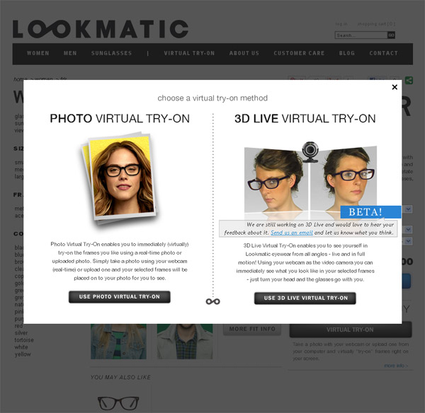Frame Finder Virtual Eyeglass Try On : Revisiting Magento Portfolio: Lookmatic a Powerful ...