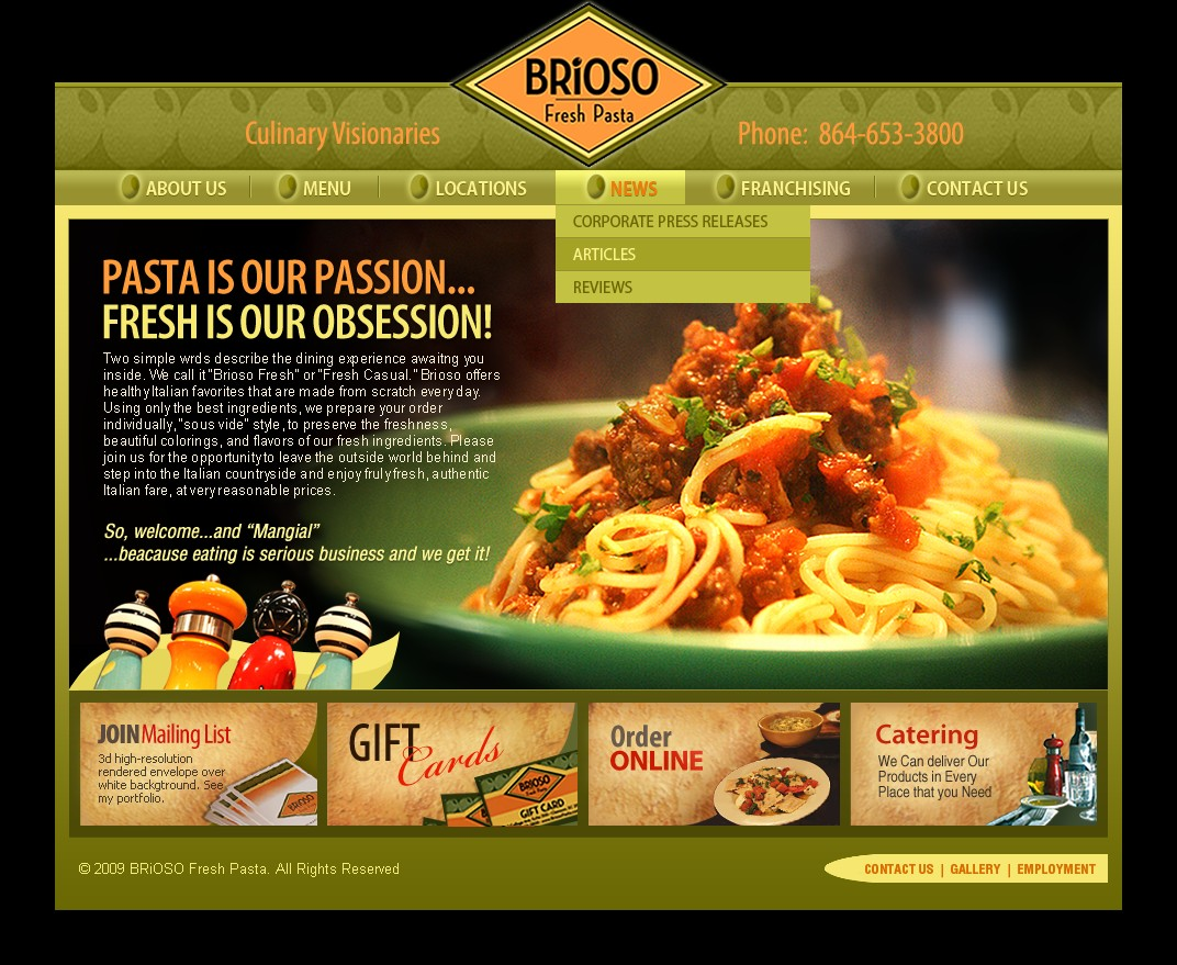 Website design for an Italian restaurant