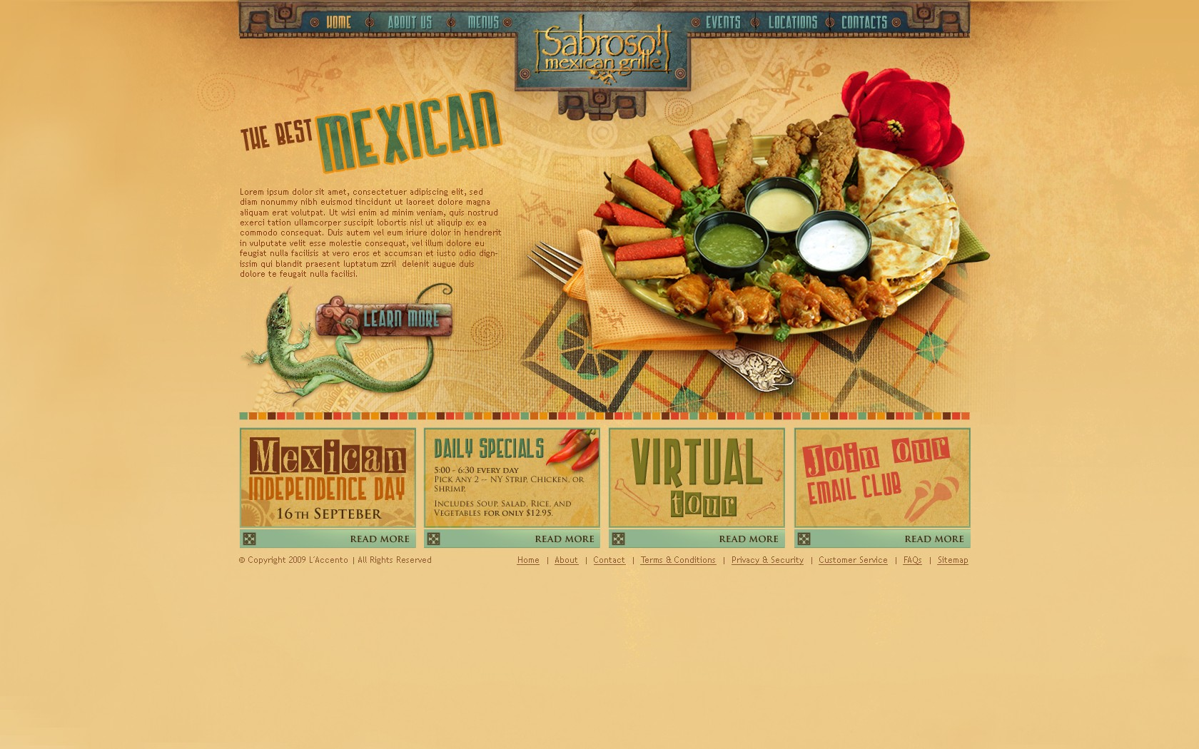 Website design for a Mexican restaurant