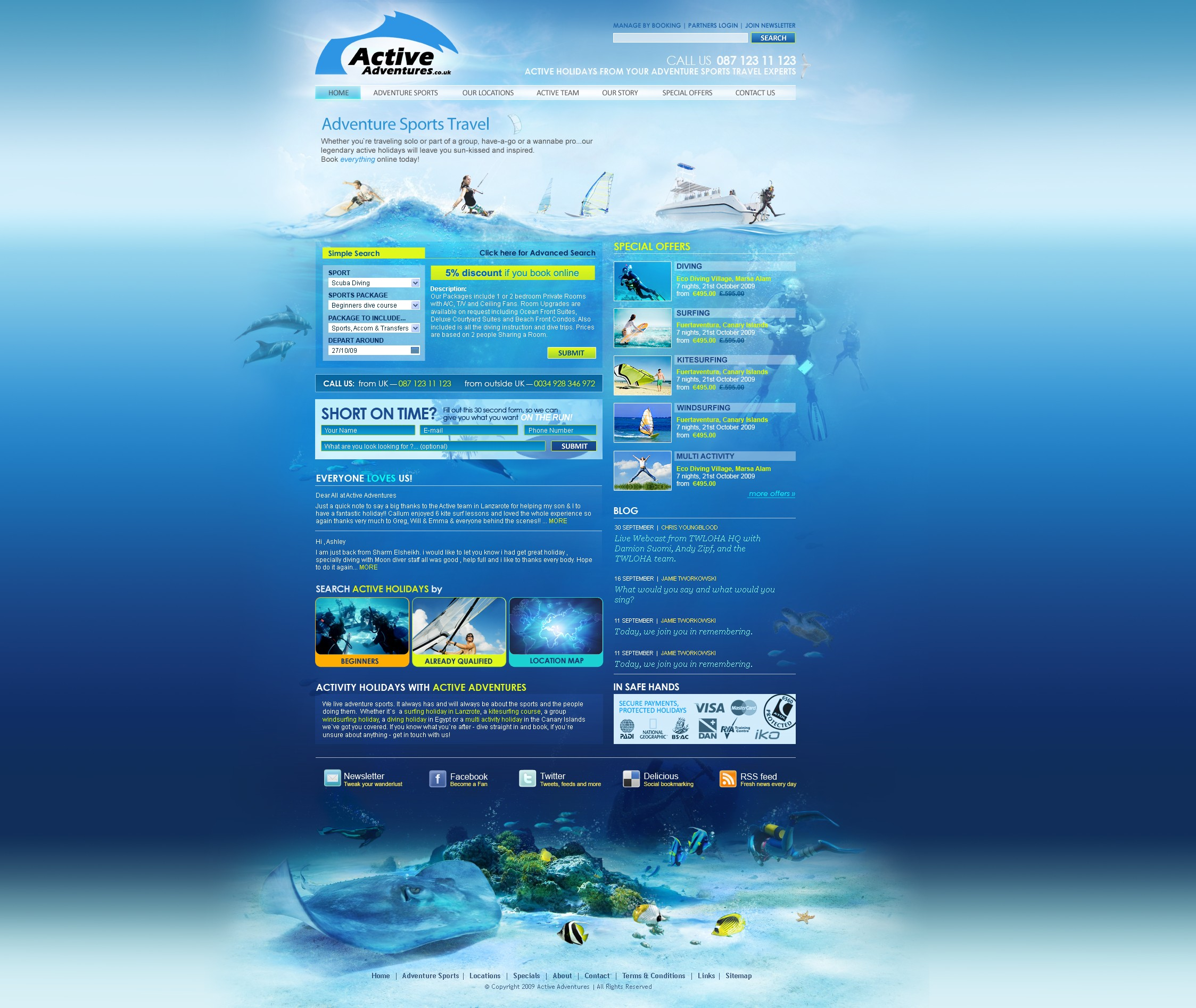 Website design for a travel agency