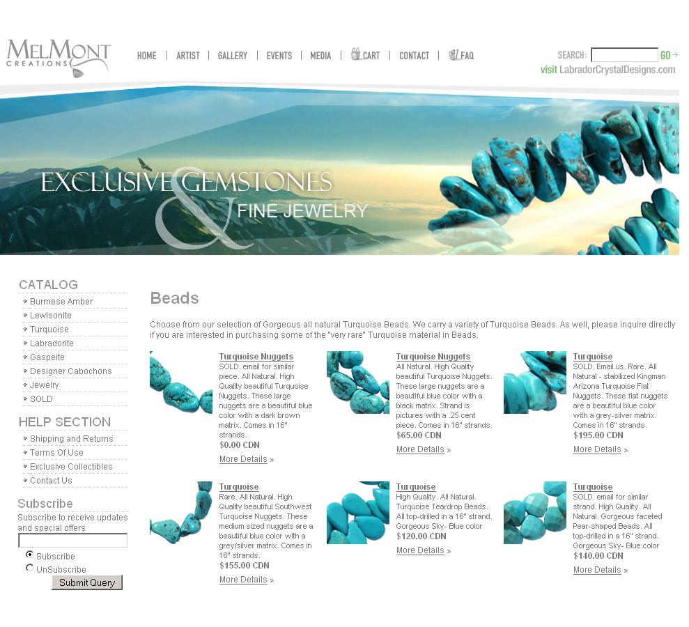 website design for a handmade jewelry artist